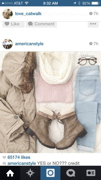 coat beige coat furry coat combat boots pink sweater white infinity scarf light jeans jeans jacket shirt scarf