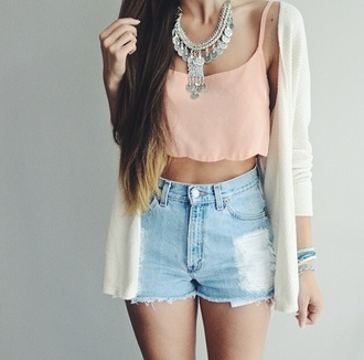 top crop tops shorts jewels necklace cardigan white cardigan peach orange summer top summer outfits high waisted shorts ripped jeans ripped shorts denim shorts denim silver silver necklace silver jewelry jewelry ethnic