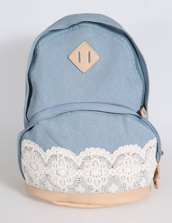 Canvas Light Blue Lace Backpack on Luulla