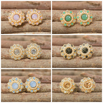 jewels sunshine earrings gold base pearl stones colorful amazinglace accessories