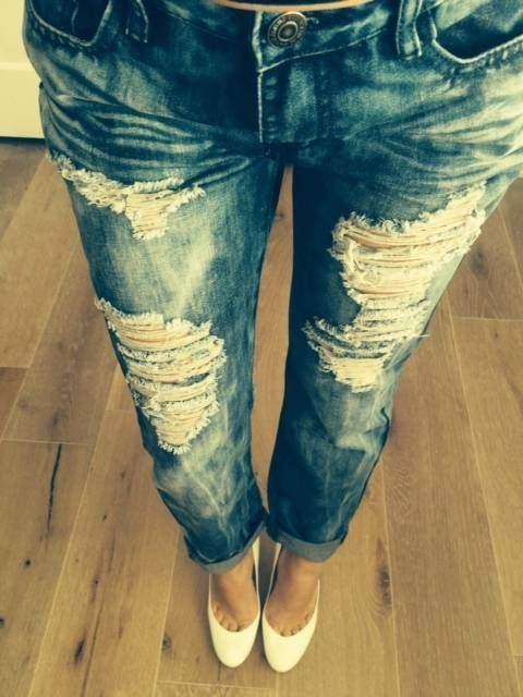 Machine Jeans Ripped Distressed Destroyed Boyfriend Cropped Women Acid Washed | eBay