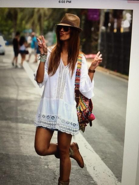 dress white dress white dentelle dress summer dress festival dress blouse shoes boho booties festival