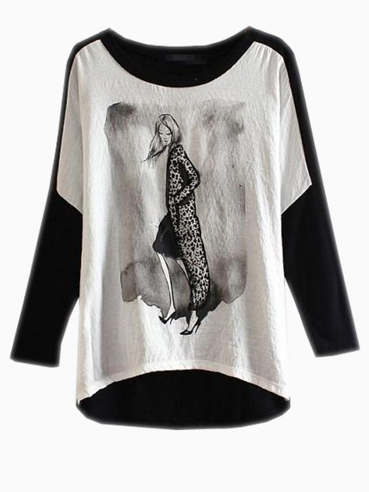 Loose T-shirt With Modern Girl Print | Choies