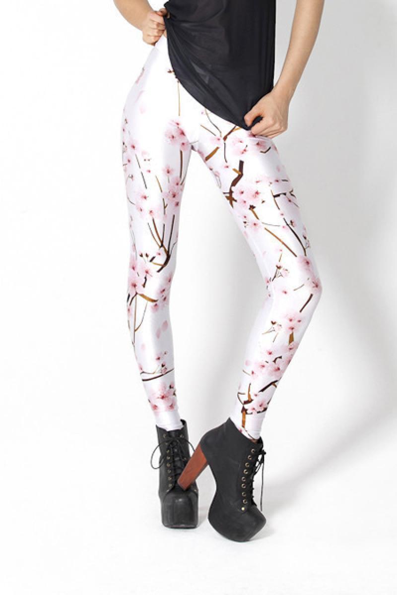 White Pink Skinny Cherry Blossom Printed Elastic Leggings,Cheap in Wendybox.com