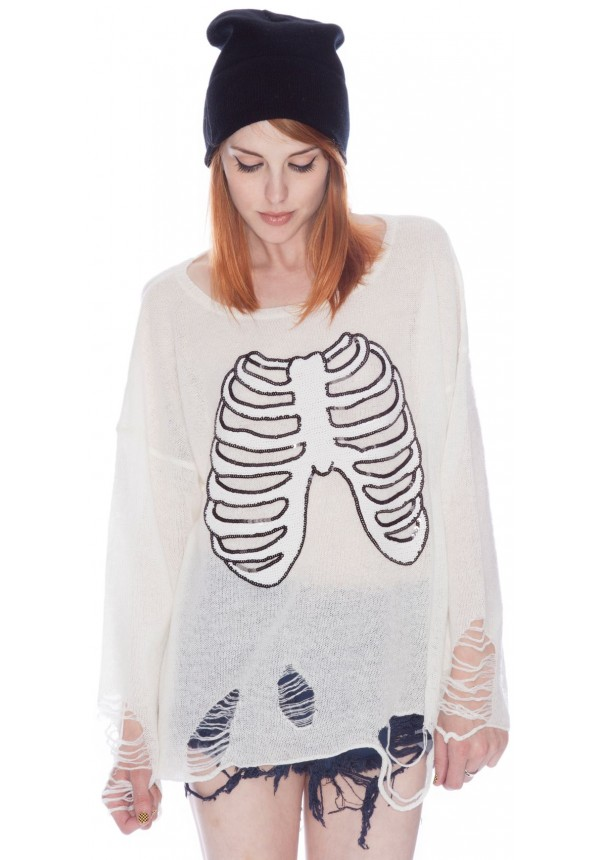 Wildfox Couture Lennon Sparkly Skeleton Sweater | Dolls Kill