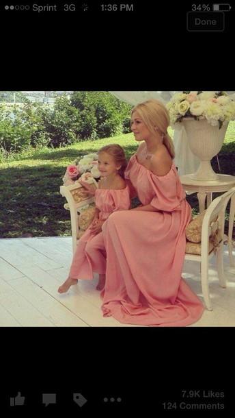 dress pink dress mother mother daughter matching set matching dress summer dress maxi mommy dress mother and child mother and child