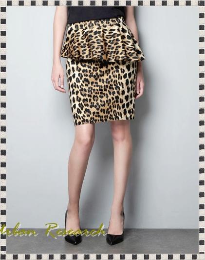 Zara BNWT 2013 s Printed Pencil Skirt with Frill Yellow Black Animal Leopard | eBay