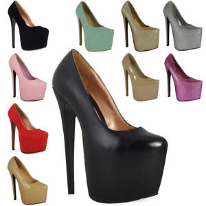 New Womens Ladies Black Platform 7 inch High Stiletto Heel Pumps Court Shoes 3 8 | eBay