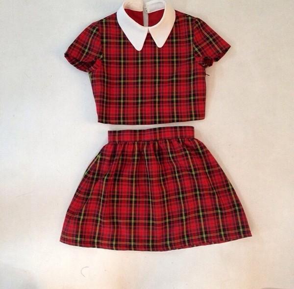 shirt tartan crop tops collared shirts skirt