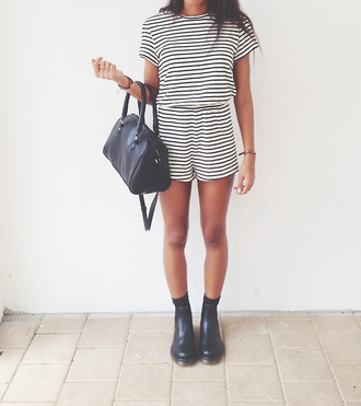 shirt black stribes white jumpsuit romper t-shirt shorts shoes bag pants stripes chelsea boots dress clothes summer matching set tumblr clothes celebrity style two-piece matching shorts and top tank top boots festival grunge stripy black and white blouse black and white stripes romper shirt romper striped dress striped skirt striped shirt white dress cute fashion tumblr striped romper black boots black bag black purse ankle boots hipster striped romber