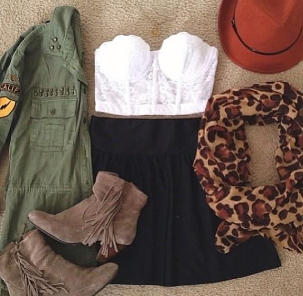 skirt hat tank top