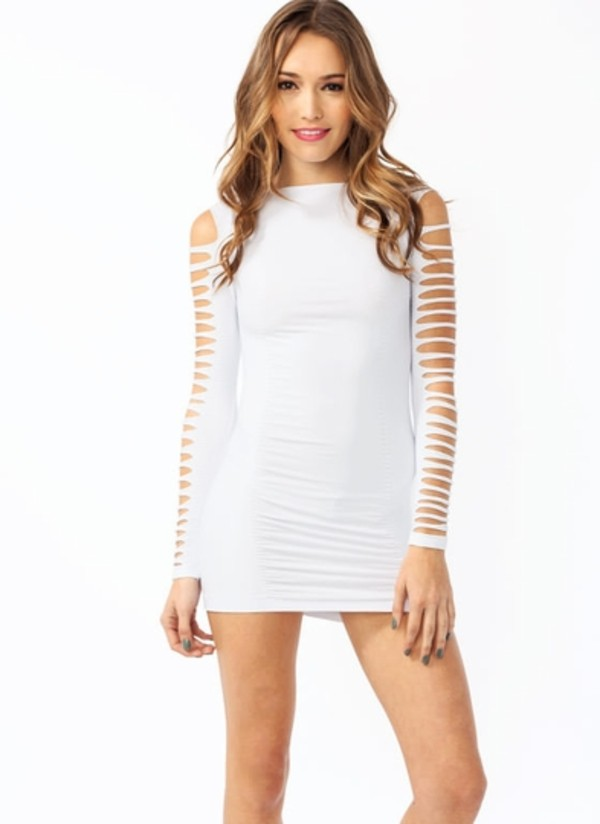 dress bodycon slit sleeves slashed sexy blouse