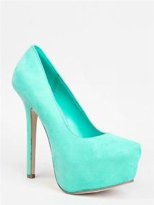 New Breckelles Women Pointed Toe Platform Heel Pumps Green Aqua Sz Mint MARISA21 | eBay