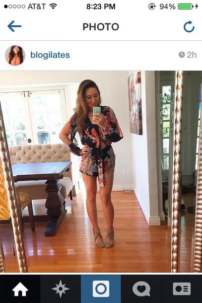 romper celebrity blogger black kimono slit top slit sleeves