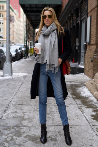 mindbodyswag blogger jeans sweater scarf coat shoes sunglasses bag winter outfits black coat red bag