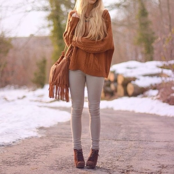 sweater fall sweater brown fall outfits fall outfits fall outfits fall outfits fall colors bag high heels high heels jeans fringed bag