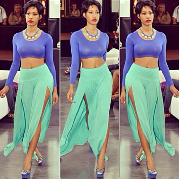 shirt longsleeve crop top long skirt heels