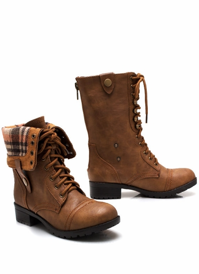 Keep-Tabs-Combat-Boots CAMEL BLACK BROWN - GoJane.com