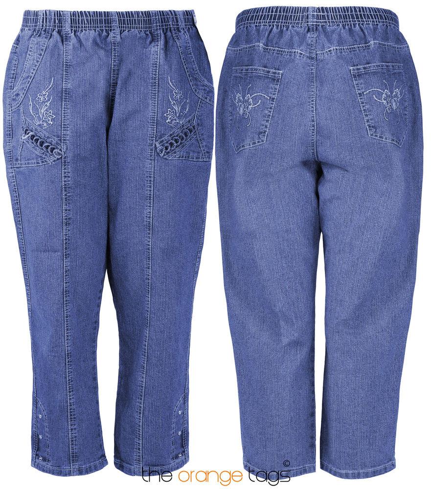 NEW LADIES PLUS SIZE 3/4 LENGTH DENIM JEANS WOMENS BAGGY TROUSERS PANTS 12-22   eBay