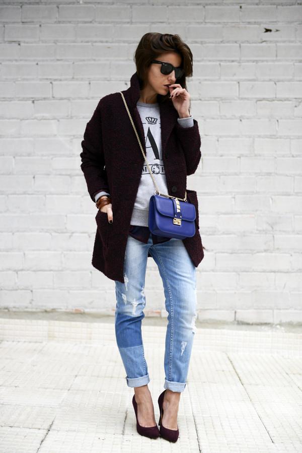 lovely pepa sweater coat jeans shoes bag sunglasses jewels