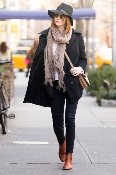scarf emma stone fall outfits