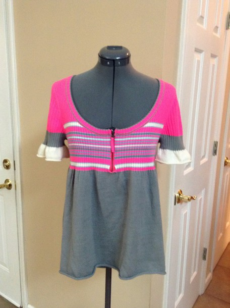 sweater free people neon pink stripes