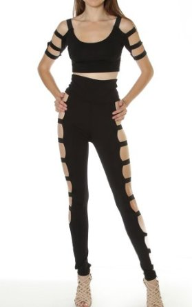 Amazon.com: Pinkclubwear Black Side Banded Cage Crop Top Hight Waist Legging Set-Black-Small: Clothing