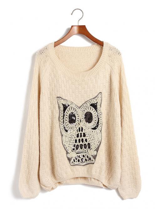 Pretty Beige Owl Knit Pullover$32