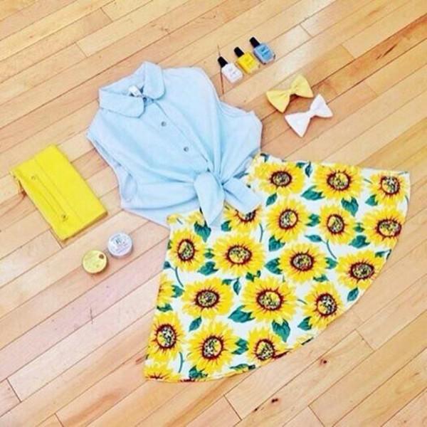 skirt tank top bag jewels yellowskirt