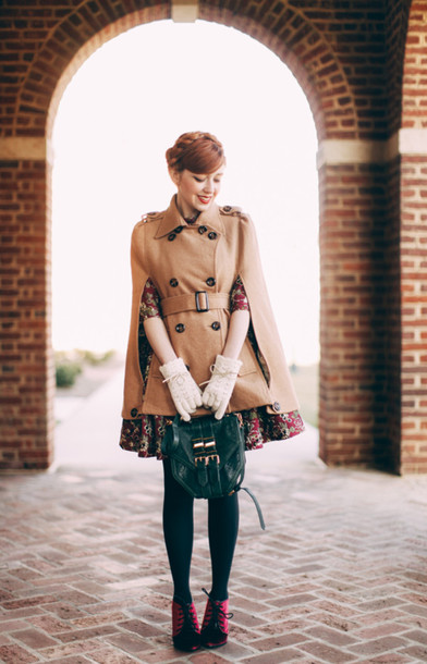 the clothes blogger gloves cape mini bag floral dress winter outfits