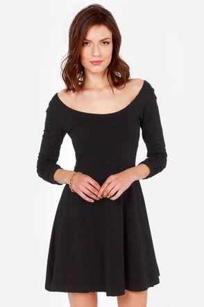 Cute Black Dress - Skater Dress - Long Sleeve Dress - $32.00