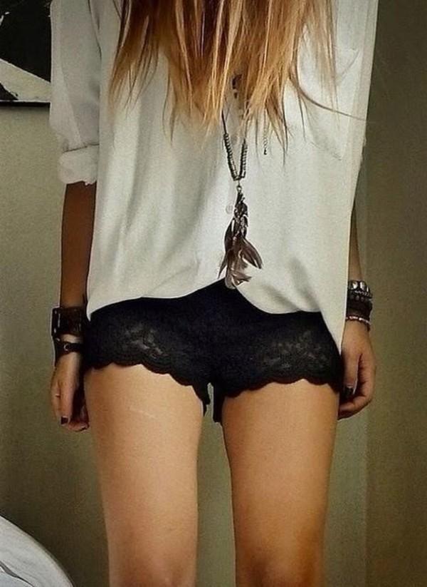 shorts lace shorts black shorts black lace shorts white shirt baggy shirt grunge vintage t-shirt jewels
