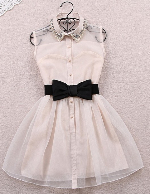 Rhinestone Pearl Collar Bow Dress - Juicy Wardrobe