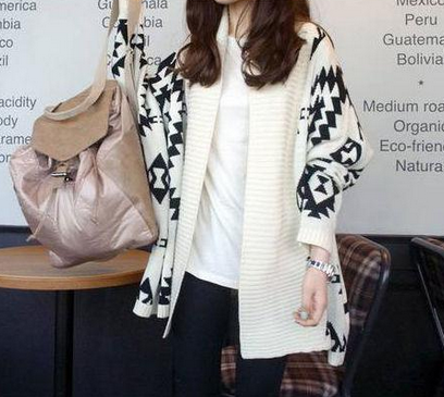 Women White Aztec Oversized Open Front Loose Sweater Cape Cardigan Tops from Parisienne on Storenvy