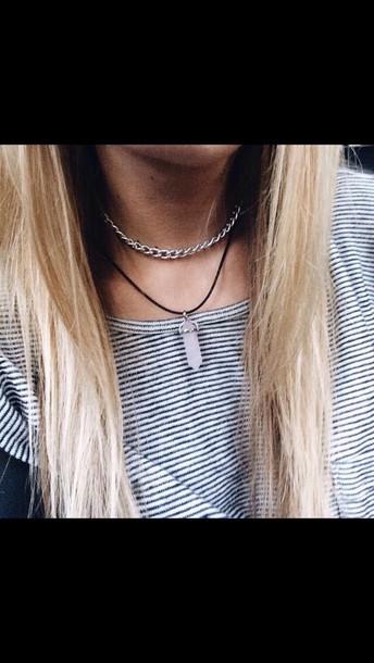 jewels necklace choker necklace stone necklaces t-shirt