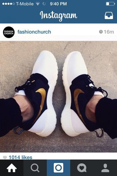shoes gold black white nike