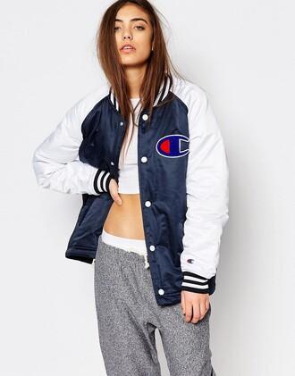 jacket bomber jacket blue and white champion clothes varsity jacket