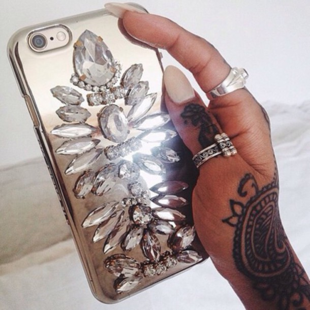 phone cover diamonds style iphone cover strass jewelry nails tattoo iphone case iphone jacket