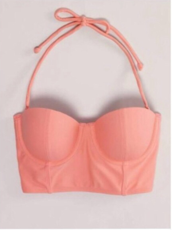 swimwear crop tops bikini pink swimming