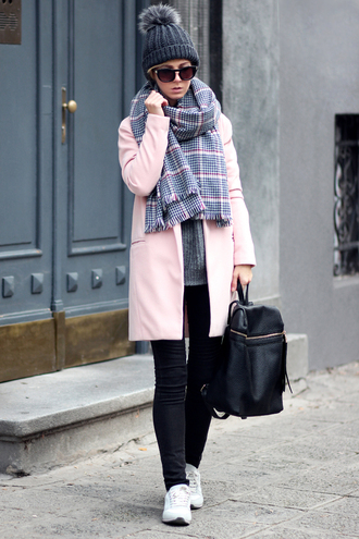 sirma markova blogger scarf hat winter outfits tartan scarf pom pom beanie pink coat leather backpack black jeans coat sweater jeans jewels sunglasses