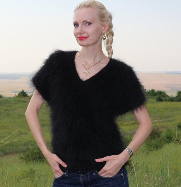 blouse hand knit made mohair v neck black sweater jumper supertanya angora cashmere wool alpaca soft fluffy fluffy