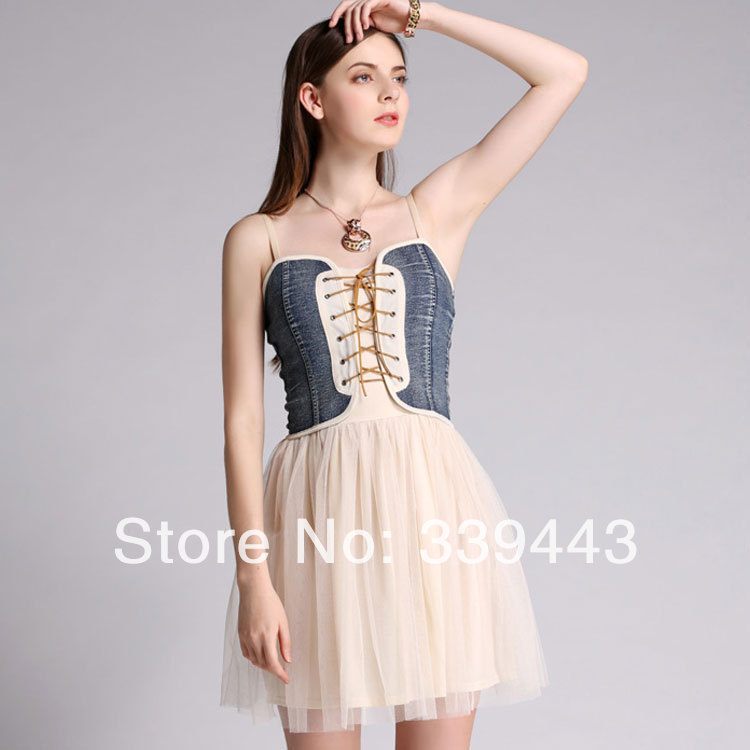 Great Nice Classic Vintage Royal London Retro Printed Contrast Split A Line Sleeveless Strapless Knee Length Denim Chiffon Dress-in Dresses from Apparel & Accessories on Aliexpress.com