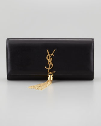 Saint Laurent Cassandre Tassel Clutch Bag, Black - Neiman Marcus