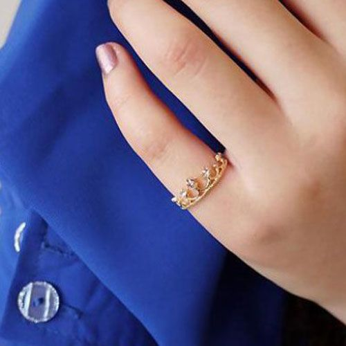 Choke a small chili with a small diamond crown ring tail ring finger Lolita Crown - DualShine