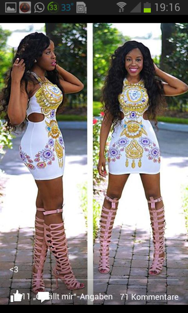 dress white dress cut-out cut-out dress shape shoes