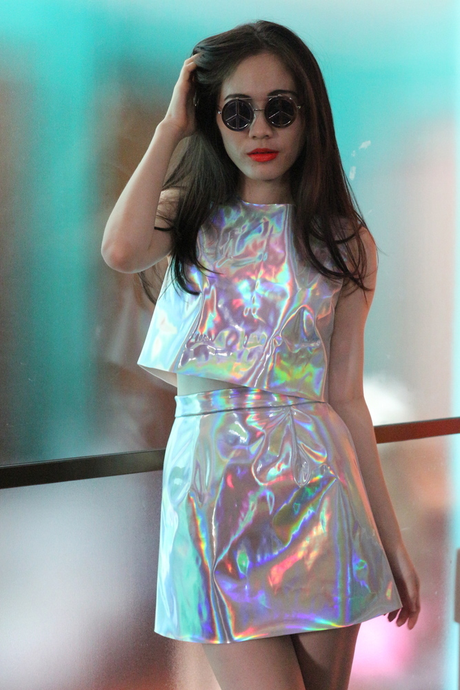 Glitters For Dinner — Made To Order - Holographic Motel Top & Skirt Set