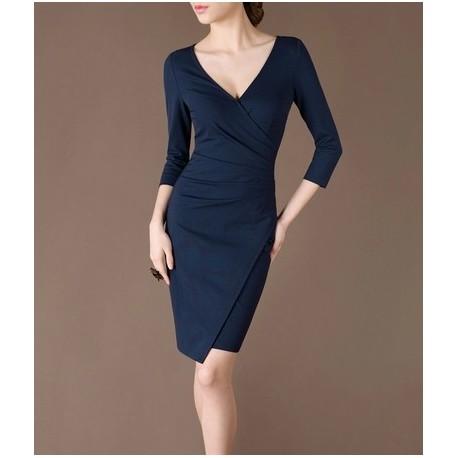 Blue Elegant Noble Summer OL Slim V-neck Women Fashion Dress lml7028 - ott-123 - Global Online Shopping for Dresses