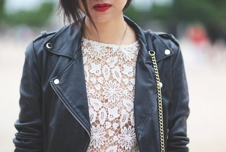 top lace tokyobanhbao blogger leather jacket jewels necklace fashion hispter goth hipster lipstick make-up chain
