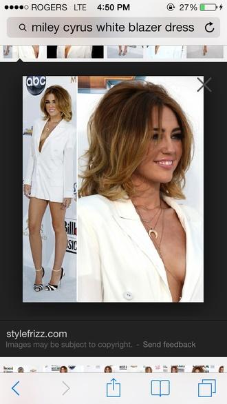 jacket blazer dress white miley cyrus louboutin plunge v neck shoes