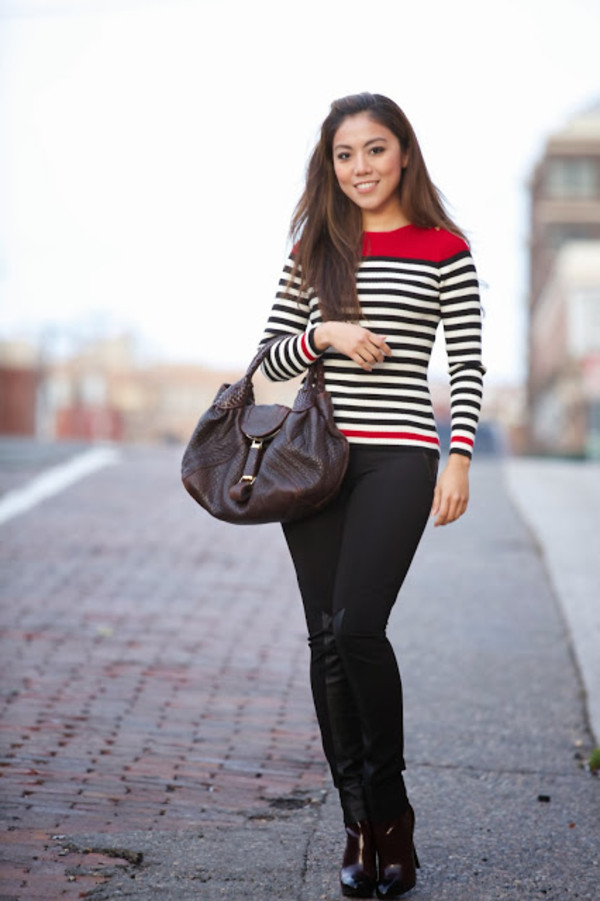 wearing fashion fluently sweater pants shoes bag